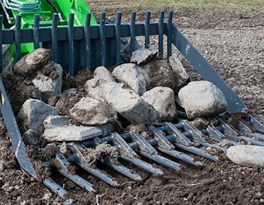 Avant® loader attachments - stone collecting bucket